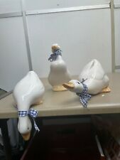 More details for trio vintage ceramic porcelain white ducks with ribbons