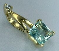 Vintage Rose Gold Pendant with Natural Topaz 585 14K, Yellow Gold Pendant 14K