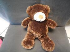 doudou peluche ours marron poils longs tout doux GIPSY 24cm