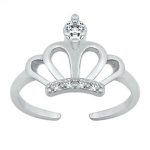 Crown Design 11mm Clear CZ Toe Ring Sterling Silver 925 Ship from USA