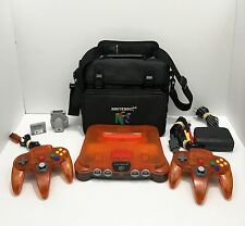 Nintendo 64 Custom Orange Black Console System REFURBISHED, Fast Shipping!
