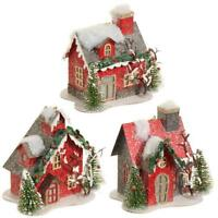 "NEW RAZ 4.5"" Lighted Red Cardboard House Vintage Christmas Ornament 3512507"