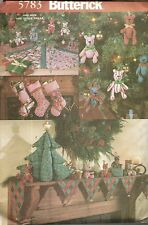 BUTTERICK 5783 PATTERNS FOR CHRISTMAS MANTLE COVER STOCKING BEAR TREE CENTER PCE