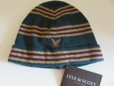 Lyle & Scott beanie hat boys age 6-10 yrs dark teal green beige purple eagle NEW