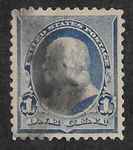 US #219v (1890) 1c Benjamin Franklin -  Blue - Used - EFO: Flame on 1s - XF/S