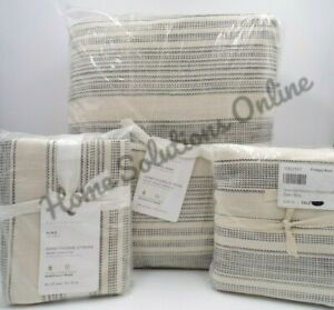 Pottery Barn Taupe Hawthorn Striped Duvet King/Cal King w/ 2 King Shams #9844
