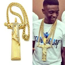 JESUS CHRIST PIECE 18K GOLD CUBAN LINK CHAIN NECKLACE LAB DIAMONDS LIL BOOSIE