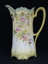 ANTIQUE 19 c. ART NOUVEAU R.S. PRUSSIA GILDED ROSE DECORATED TANKARD PITCHER