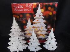Three Piece LED Porcelain Tree Set Batery Operated New Holiday Decor Christmas