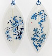 Blue Flowers & Birds Leaf Bookmarks, 2pc Asian Painting Lucky Charm Book Markers