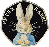 COLOURED PETER RABBIT 50p PENCE BEATRIX POTTER COIN 2016 EASTER BUNNY HUNT GIFT