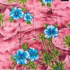 Cotton or Blend Craft Sewing Fabric Tropical Hibiscus Palms Boats Pink Blue