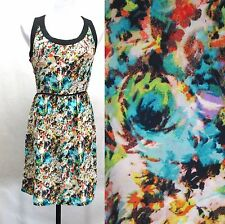 Love Stitch Floral Sun Dress Womans Small Black Racerback Exposed Zipper Strappy