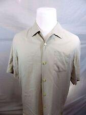 Tommy Bahama Mens Medium Beige Textured Silk Short Sleeve Casual Shirt
