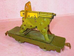 Vintage MARX ARMY SUPPLY TRAIN MACHINE GUN Car w/CRANK O Gauge WORKS