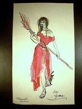 Escaped Zombie Witch 1946-59 Original Watercolor Sketch By C. Schattauer Kelm