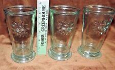 Vintage Green Glass 8oz Juice Tumblers Milk Glasses SUN DESIGN_ RARE Set/3 _3D
