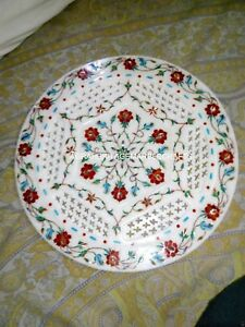 """12"""" Filligree Marble Serving Plate Carnelian Floral Arts Kitchen Decorative Gift"""