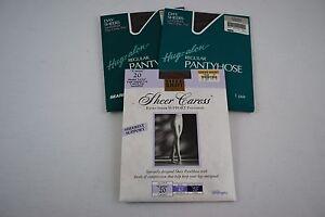 Sears Hug-alon Regular Pantyhose Average Gental Brown & Sheer Caress Lot of 3
