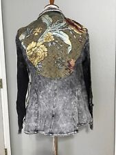 NWT Aratta So Obviously Yours Printed Velvet Collar Jacket L Charcoal