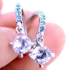 Silver and blue crystal hoop earrings like diamond ring