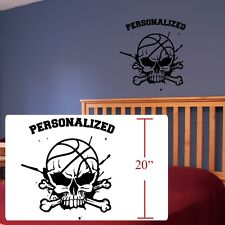 Basketball Skull crossbones room decal,basketball decal ,fathead style stickers