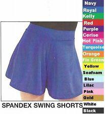 Swing Shorts Skort Skirt Dance Costume Tap Turquoise Blue Red Black Clearance