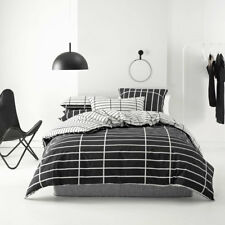 Deco Linen House Vasco Black Queen Bed Size Duvet Doona Quilt Cover Set