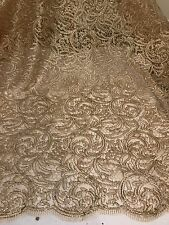 "GOLD METALLIC CORDED  EMBROIDERY  LACE FABRIC 50"" WiIDE 1 YARD"