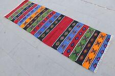"Vintage Handmade Turkish Anatolia Wool Red Runner Rug Kilim 177x57cm,71""x23"""