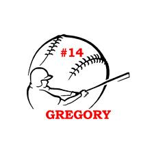 Baseball Name & Number Decal Sticker for Car, Yeti, Travel Mug, Tumbler.