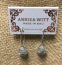Annika Witt Made In Bali 925 Sterling Silver Dangle Earrings - NWT