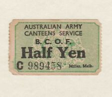 More details for one australian army canteens service b.c.o.f half yen ticket/stamp used.