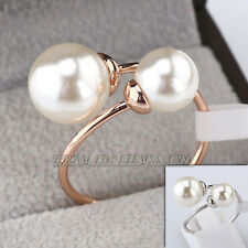 A1-R3140 Fashion White Pearls Solitaire Wrap Ring 18KGP Size 5.5-9