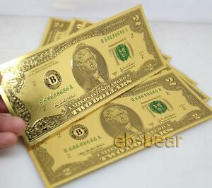 Lots 100 Pcs $2 US dollar Color Gold Banknote Crafts Collect Beautifully