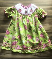Sage And Lilly Smocked Dress 24 Month Christmas Tree, snowflakes Pink Green Girl