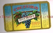 Unused 1940s BRASIL Caxais Do Sul Luiz Michelon Cruziero Suco De Uva Label