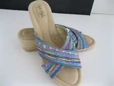 SOFT STYLE BY HUSH PUPPIES SOFT DELIGHT BLUE JUTE WEDGE SLIP ON SHOES, 9M, NWOT
