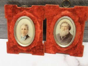 Antique Matched Pair 19th Cent Miniature Portraits Husband Wife Massachusetts