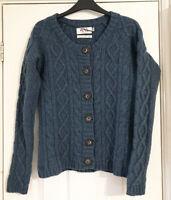 Seasalt Tamarisk Cardigan 100% Lambswool Teal Chunky Aran Cable Knit Size UK 10
