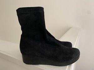 ROBERT CLERGERIE Women's Black Suede Platform Sock Boot 37 EUC