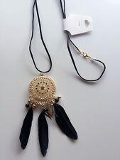 Women BOHO Feather Leaf DREAM CATCHER Retro Bohemian Beach Necklace Long Chain