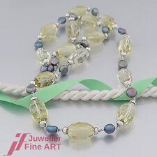 Collier - Prasiolith/Quarz grün - Biwa-Perlen grau-lila-18K/750 Weißgold-endlos