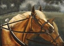 """Haflingers """"Well Let's Go"""" by artist Bets Framed Acrylic on 18"""" X 24""""Canvas Gift"""