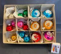 schöne bunte Kugeln Tannenbaumkugeln Weihnachtskugeln DDR Reflexkugeln #2225