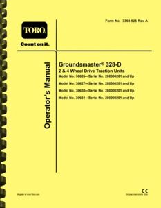Toro Groundsmaster 328-D 328D OWNERS OPERATOR'S MANUAL