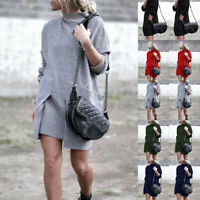 Women Ladies Baggy Sweater Jumper Mini Dress Winter Long Pullover Top PocketPLUS