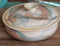 Stoneware Studio Pottery Lidded Casserole Dish Artist Signed