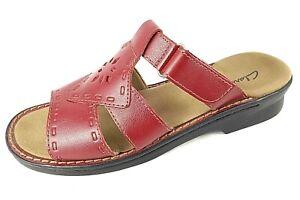 Clarks Sarasota Red Leather Comfort Sandals Slides Slip Strap Shoes Women's 9M 9
