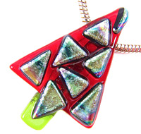 """Dichroic Fused Glass CHRISTMAS TREE PIN Red Silver Rainbow Rainbow Patterned 2"""""""